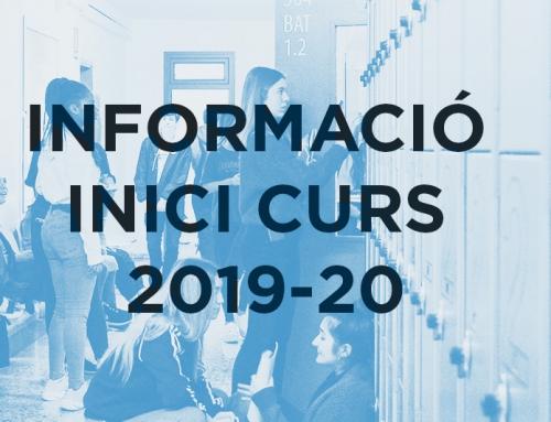 Informació Inici curs 2019-20