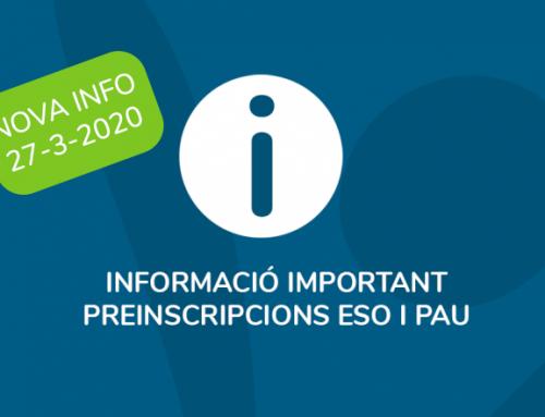 Informació PAU (nova info) i preinscripció ESO (FECC)
