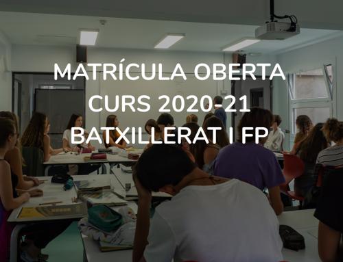 Matrícula Batxillerat i FP 2020 (OBERTA)