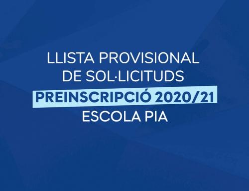 Llista provisional de sol·licituds de preinscripció